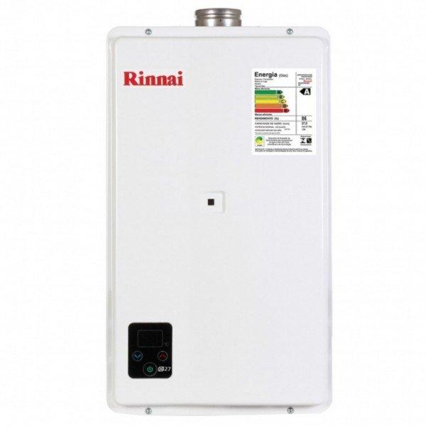 aquecedor de agua a gas glp branco 27 litros rinnai